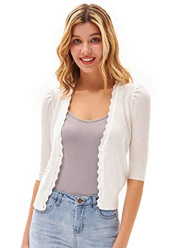 Damen Bolero Strickjacke sexy tiefer V-Ausschnitt Loose Fit Cardigan Knitwear 2XL Cremeweiß CL0227S21-02