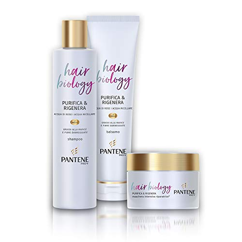 Pantene Hair Biology Purifica e Rigenera, Set Composto da Shampoo da 250 ml, Balsamo da 160 ml e Maschera da 160 ml
