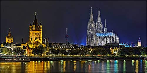 Leinwandbild bis 280 cm Breite, Panoramabild Köln Rheinufer mit Dom, Fineart Leinwandbild hochwertige Wanddeko Wandbild in Galerie Qualität auf Original Canvas© Künstler Leinwand