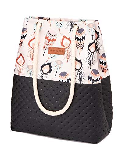 Bvani Große Damen Shopper Tasche zum Einkaufen Reisen Arbeiten Schule - Tote Bag (Indische Muster Punkte)