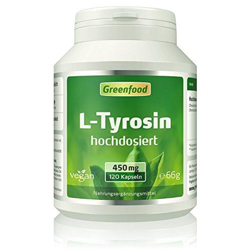 Greenfood L-Tyrosin, 450 mg, hochdosiert, 120 Kapseln, vegan – OHNE Zusätze. Ohne Gentechnik.