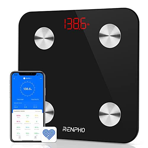 Báscula Grasa Corporal Bluetooth RENPHO con 13 Funciones, Báscula de Baño Digital con App, Báscula Inteligente y Monitor de Composición Corporal con Medición de Metabolismo Basal e IMC