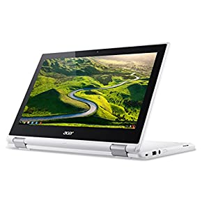 Acer Chromebook R11 CB5-132T - (Intel Celeron N3060, 4GB RAM, 32GB eMMC, 11.6 inch HD Touchscreen Display, Google Chrome OS, White) & AmazonBasics Laptop Sleeve 9