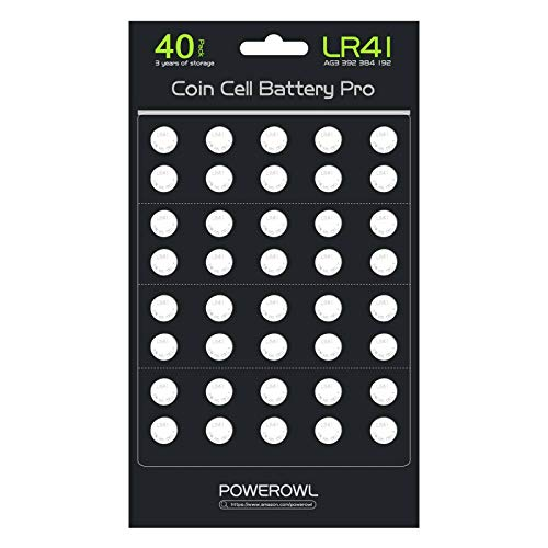POWEROWL 40 Pack LR41 AG3 L736 392 384 192 Battery 1.5V Button Coin Cell Batteries [Battery Cells Updated, More Long Lasting]