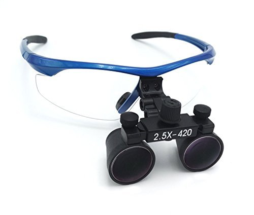 ZGOOD Surgical Medical Binocular Loupes 2.5X420mm Optical Glass DY-101 Plastic Frame with Antifog Blue