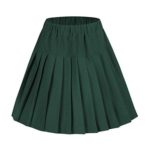 Urban CoCo Falda escolar plisada de tartán con cintura elástica para mujer -  Verde -  Medium