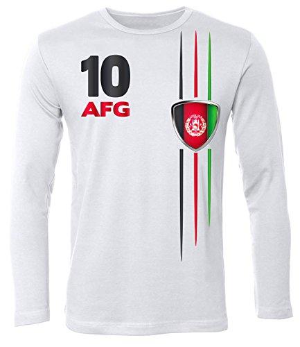 Afghanistan Langarm Longsleeve Fanshirt Fussball Fußball Trikot Look Jersey Herren Männer t Shirt Tshirt t-Shirt Fan Fanartikel Outfit Bekleidung Oberteil Hemd Artikel