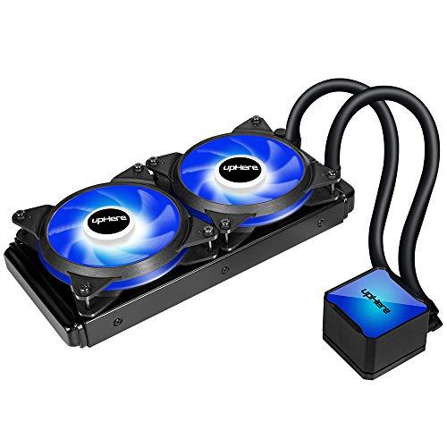 upHere Cooler CPU Liquido all-in-One con Tecnologia ad Alte Prestazioni con Doppia Ventola PWM 240mm Regolabile, LED Blu (Compatibile AM4),CC2402