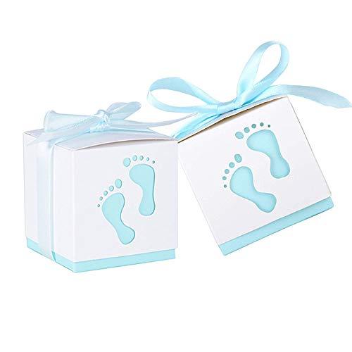 Nsiwem 50 Piezas Cajas de Papel Cajas de Caramelo Dulces Bombones Baby Shower Cajas de Favor con Cintas para Niño Baby Shower Boda Fiestas Cumpleaños Bautizo Detalles Recuerdos Decoración Favor