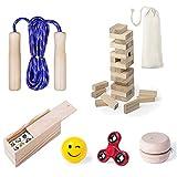 Partituki Pack Juegos Infantiles Incluye: Comba de Saltar, Yoyo de Madera para Niños, Fidget Toy Spinner, 1 Juego Torre de Madera Jenga, 1 Domino Infantil con Dibujos y 1 Pelota Emoji