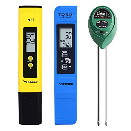 VIVOSUN PH Meter, TDS and EC Meter, Soil Tester Combo