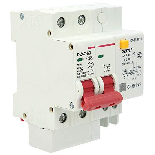 SALUTUYA Funcionamiento de la manija de protección contra sobrecarga Disyuntor de 2 Polos Disyuntor en Miniatura de 400 V para interruptores de Aire industriales Cableado Frontal