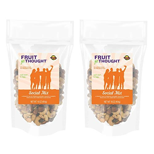 Social Mix, 16 Ounce Bag (Pack of 2) - Fruit for Thought Trail Mix, Non-GMO, No Added Sugar, Gluten Free, Vegan Trail Mix, Multi-Serving Bag Bundle