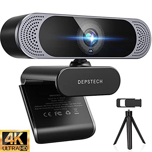 Webcam 4K, DEPSTECH Webcam mit Mikrofon Webcam mit Autofokus/Stereo Dual Mikrofon, USB Plug & Play, Objektivdeckel und Stastiv für PC, Skype, Videochat, Streaming und Aufnahme