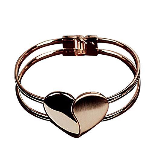 Neue Art- und Weisedame Elegant Heart Bangle,helles doppeltes Herz-Armband,Armband-Manschetten-Geschenk, Legierung 6 * 1.1 cm(W * H)/2.4 * 0.4 Zoll,Geschenk für Sie und Ihre Freund-Familie (Gold)