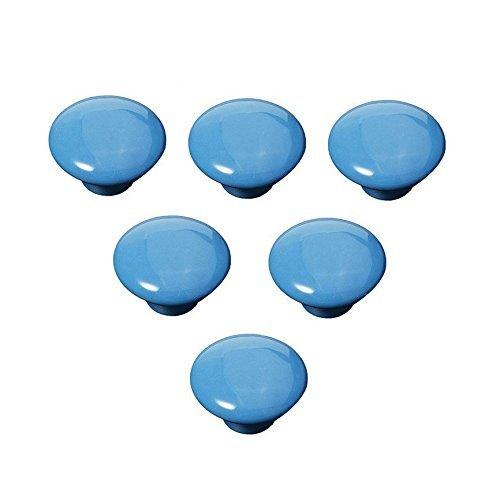 Pomos de cerámica de porcelana china estilo vintage redondo dormitorio puerta gabinete armario cajón tirador tirador manija forma botón, juego de 6 (azul)