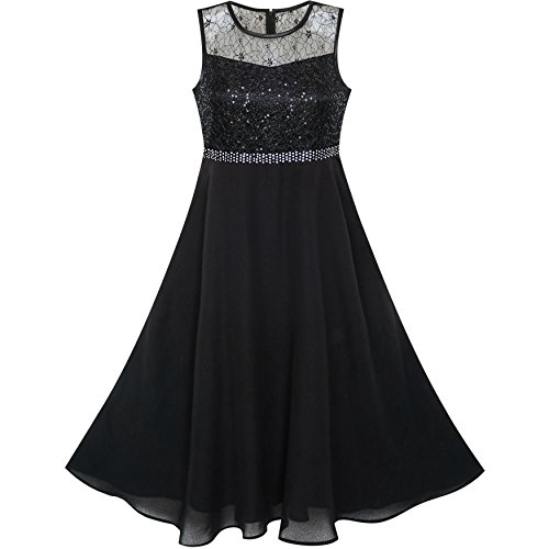 Sunny Fashion Vestido para niña Diamante de imitación Gasa Dama de Honor Baile Pelota Maxi Vestido 10 años