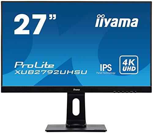 iiyama ProLite XUB2792UHSU-B1 68.4 cm, 27 Pollici, IPS LED-Monitor 4K UHD, DVI, HDMI, DisplayPort, 2xUSB3.0, Ultra-Slim-Line, Regolabile in Altezza, Pivot, Nero (Personal computer)