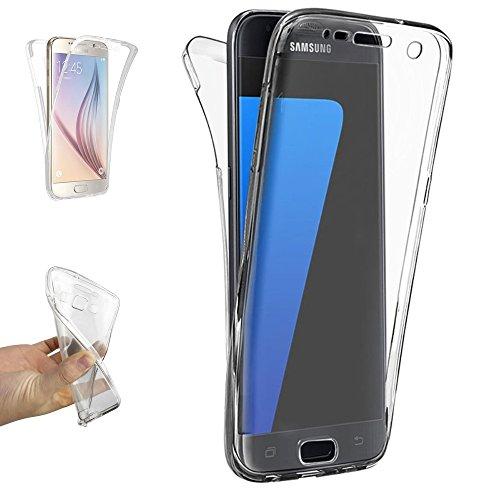 REY Funda Carcasa Gel Transparente Doble 360º para Samsung Galaxy S7, Ultra Fina 0,33mm, Silicona TPU de Alta Resistencia y Flexibilidad