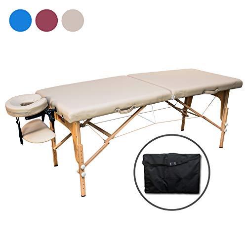Zen Start-Up   Massage-Liege klappbar und höhenverstellbar   Mobiler Massage-Tisch   Kosmetik-Tisch aus Holz mit hochwertigem Bezug   Extra-Stabilität   TÜV zertifiziert (Créme)