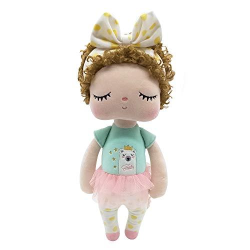 metoo Puppen Baby Mädchen Geschenke Plüsch Angela Mode Locken Gefüllte Hase Kaninchen Schlafspielzeug Rosa Kleid (12 Zoll)