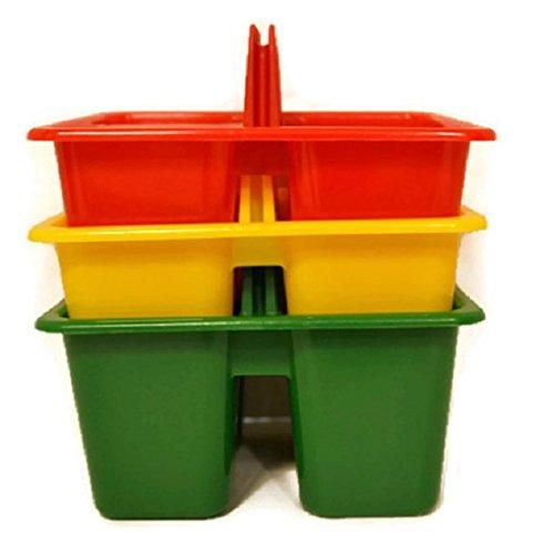 Kids Arts & Crafts Small Plastic Caddies, 3 Compartments, 3-ct Set