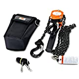 SuperHandy Manual Chain Hoist Come Along 1/2 Ton 1100Lbs Capacity 5' Foot Lift 2 Heavy Duty Hooks Commercial Grade Steel Construction Building Garages Warehouse Automotive Machinery
