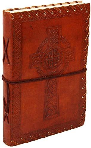Aheli - Diario personale da viaggio in pelle, 18 x 13 cm, motivo a croce goffrata a mano, con fogli...