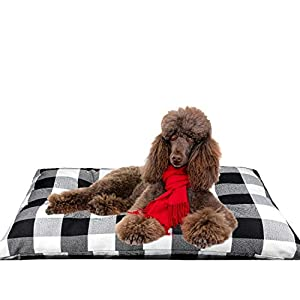 """Pet Dog Pillow Bed Large Washable Dog Bed for Large Dog Bed Mat Thick Cotton Linen Chew Proof Crate Mat Dog Pillow Bed With Removable Cover Jumbo Dog Kennel Pad For Medium Large Dogs (XL(43.5""""×29""""))"""