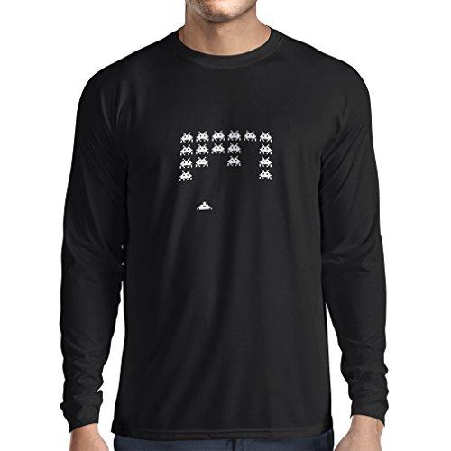 lepni.me T-Shirt Manches Longues Homme Vieux Joueur d'école, Chemise de Jeux vidéo pour l'amant de Jeu (Small Noir Blanc)