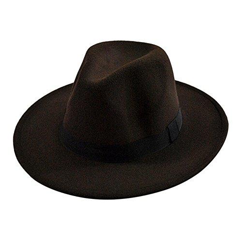 Nikgic 1pc Otoño e Invierno Hombres y Mujeres Straight Edge Jazz Hat Sombrero Grande de ala Ancha Sombrero de Fieltro de Lana imitación