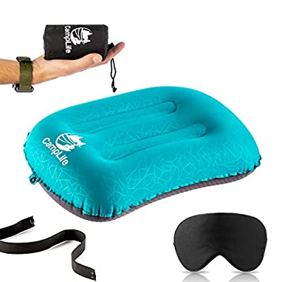 Ultralight Inflatable Camping Travel Pillow - ALUFT 2.0 Compressible, Compact, Comfortable, Ergonomic Inflating Pillows for Neck & Lumbar Support While Camp, Hiking, Backpacking (Green)