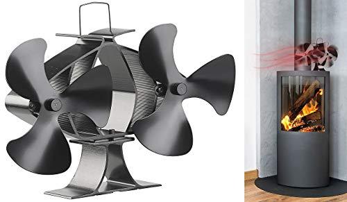 Carlo Milano Kaminlüfter: Stromloser Kaminofen-Doppel-Ventilator, je 3 Lüfter-Blätter, ab 65 °C (Ventilator Kamin)