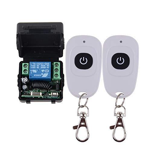 Funkfernbedienung 12V 1CH RF Funkfernschalter, Universal Wireless Fernbedienung Schalter Relaisschalter 433MHz 2 Transceiver mit 1 Empfänger Remote Control Modul