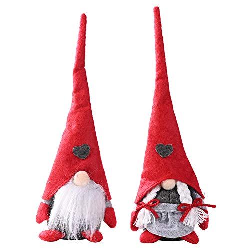 2pcs Giocattoli di Peluche Natalizi GNOME Svedese Gnomo Doll Svedese Santa di Natale Decorazioni Bambola Fatta a Mano Giocattolo Babbo Natale per Feste, Casa, Regalo per Bambini