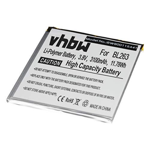 vhbw Litio polímero batería 3100mAh (3.85V) para Smartphone teléfono Lenovo Zuk Z2 Pro Ultimate Edition, Zuk Z2 Pro Ultimate Edition TD-LTE Dual SIM