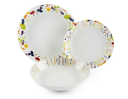 Excelsa Dripping - Vajilla de 18 piezas de porcelana