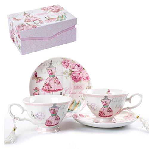 London Boutique Set aus Kaffee-/Teetassen und Untertassen, Shabby Chic, Vintage-Design, Porzellan mit Blumenmuster, 2 Sets in Geschenk-Box, Keramik (Pink Classic Lady)