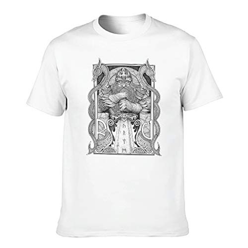T-HGeschäft Fitness Training Men's Graphic T-Shirt Viking Odin Warrior Sword Two Dragon Print Colourful Tee Tops - White - XXXXXXL