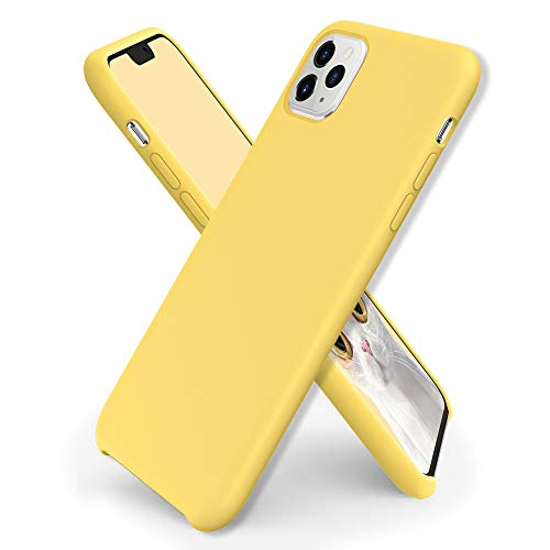 ORNARTO Funda Silicone Case para iPhone 11 Pro MAX, Carcasa de Silicona Líquida Suave Antichoque Bumper para iPhone 11 Pro MAX (2019) 6,5 Pulgadas-Amarillo Limón