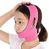 Correa de adelgazamiento facial transpirable para la cara, vendaje de doble mentón, reductor de mentón doble, correa(Rose red)