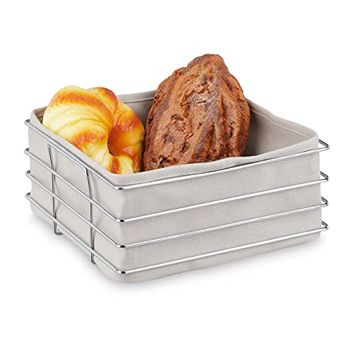 Relaxdays Brotkorb Metall, mit Stoffeinsatz, moderner Brötchenkorb, Frühstückskorb Edelstahl, HBT: 10,5x23x23 cm, grau