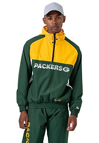New Era Green Bay Packers - Chaqueta cortavientos para hombre, Hombre, Chaqueta cortavientos para hombre., 12033399, Cilantro Green, extra-large