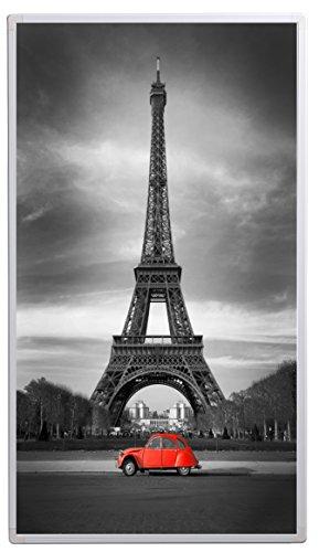 Könighaus Bildheizung (Infrarotheizung mit hochauflösendem Motiv) 5 Jahre Garantie (450-Eiffelturm Schwarz-Weiß & roter Ka) - inkl. Thermostat