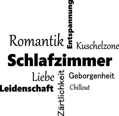 EmmiJules Wandtattoo Schriftzug Sprüche Zitate - Made in Germany - in verschiedenen Größen und Farben – Familie Schlafzimmer Wohnzimmer Wandaufkleber Wandsticker (60cm x 60cm, schwarz)