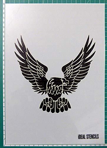 Golden Adler Schablone - Malen Schablone für Kunst Handwerk und Dekorieren - Wiederverwendbare Schablone Hergestellt aus Waschbar Plastik - Farbe Design auf Wände, Stoff, Möbel