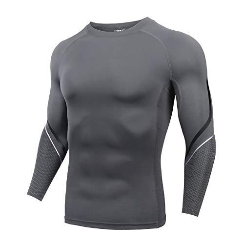 AMZSPORT Maglia a Compressione Uomo, Manica Lunga T-Shirt per Sport Fitness Corsa Ciclismo, Grigio L