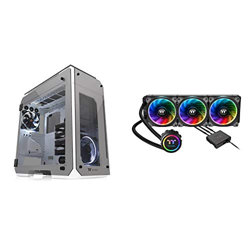 Thermaltake View 71 Snow 4-Sided Tempered Glass Vertical GPU Modular SPCC E-ATX Gaming Full Tower Computer Case & Floe Triple Riing RGB 360 TT Premium Edition Ready Liquid Cooling System CPU Cooler