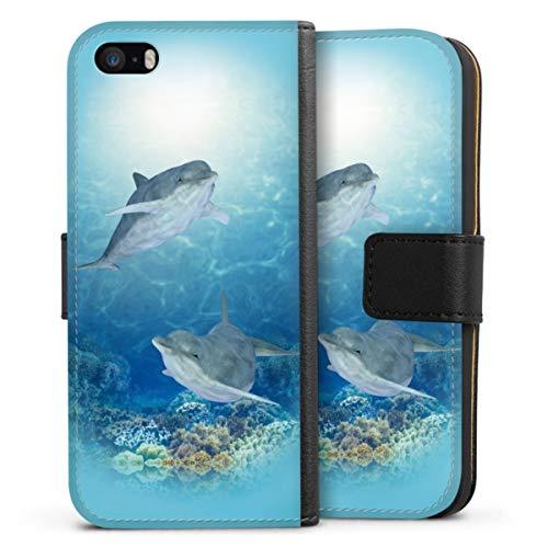 Custodia a Portafoglio Compatibile con Apple iPhone 5 Custodia per Cellulare di Similpelle Nera Cover a Libro Animali Delfino Oceane