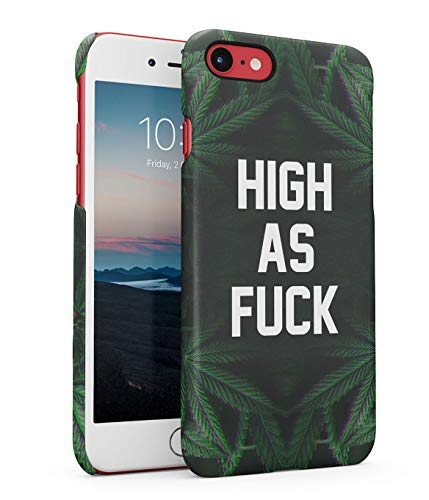 Hülle Hardcase Kompatibel mit iPhone 7 / 8 / SE 2020 High As Fuck Unkraut Drogen Marihuana Holografisch Holographic Cannabis Leaves Weed 420 Drugs Acid Addiction eng Anliegendes Dünnes Handyhülle